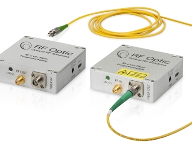 2.5GHz RF over Fiber Transmitter and Receiver – Palm-Sized and Programmab